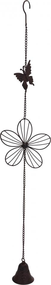 Kovová zvonkohra s motýlkem  cm, hnědá