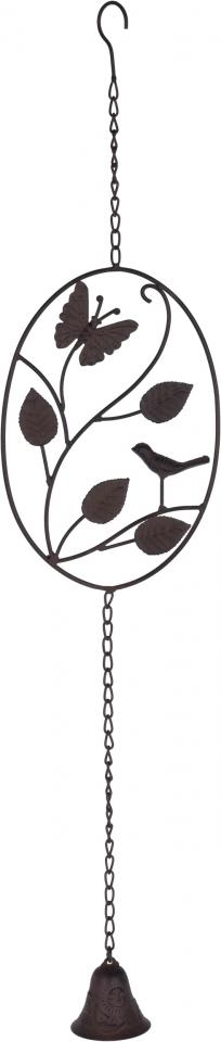 Kovová zvonkohra s motýlkem a ptáčkem 77 cm, hnědá