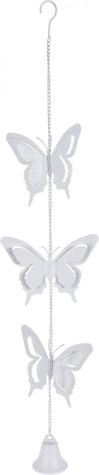 Kovová zvonkohra s motýlkem 80 cm, bílá