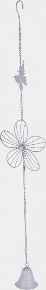 Kovová zvonkohra s motýlkem  cm, bílá