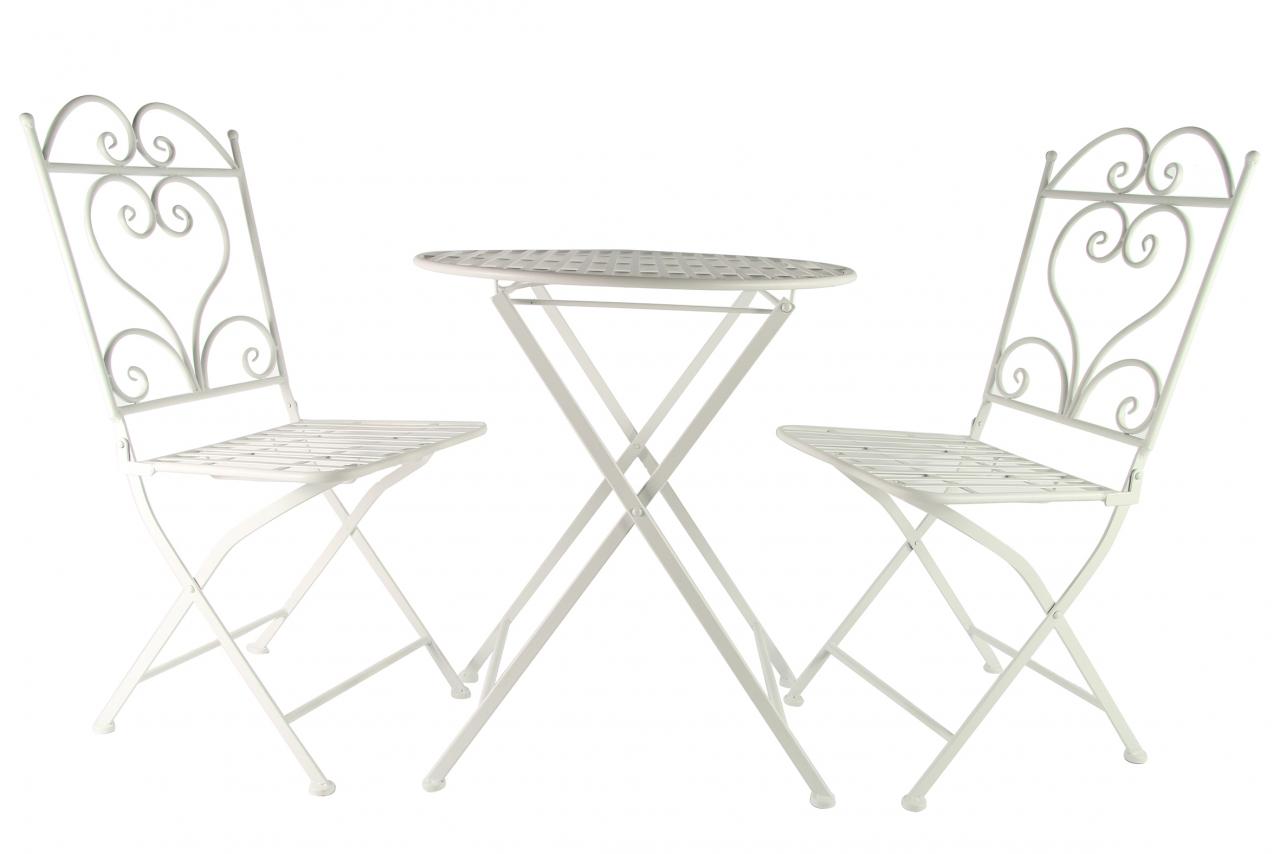 Kovový stůl a židle Provence, bílý