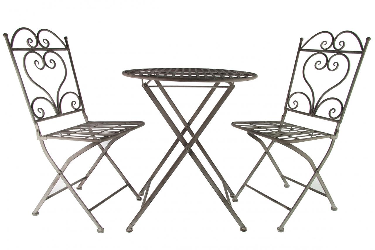 Kovový stůl a židle Provence, šedý