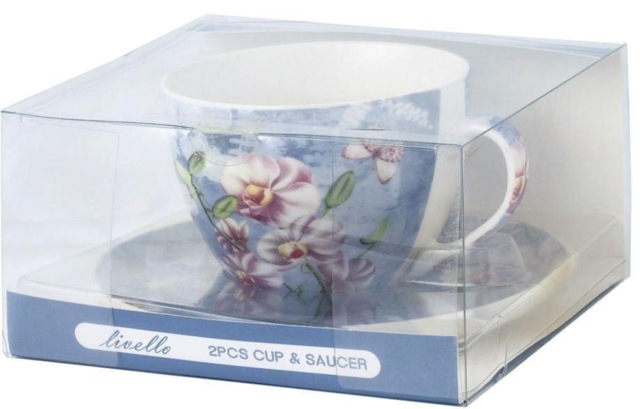Hrnek s podšálkem Orchids - blue 420 ml