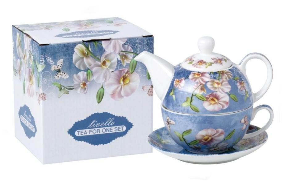 Konvička s podšálkem TEA FOR ONE Orchids - blue
