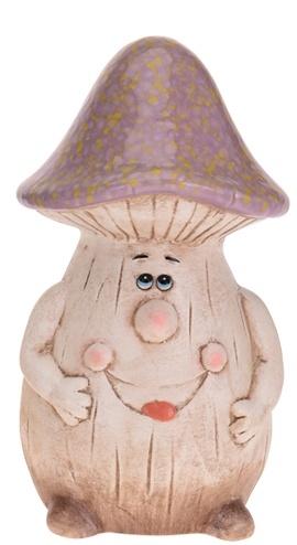 Keramický hříbek fialovo-hnědý 19 cm