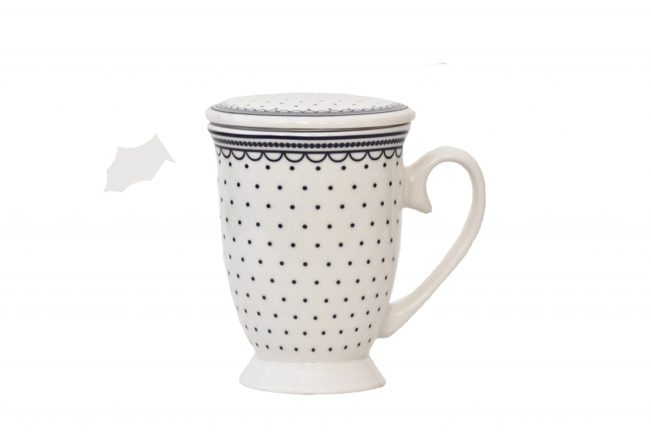 Hrnek na bylinky Dots - white 350 ml