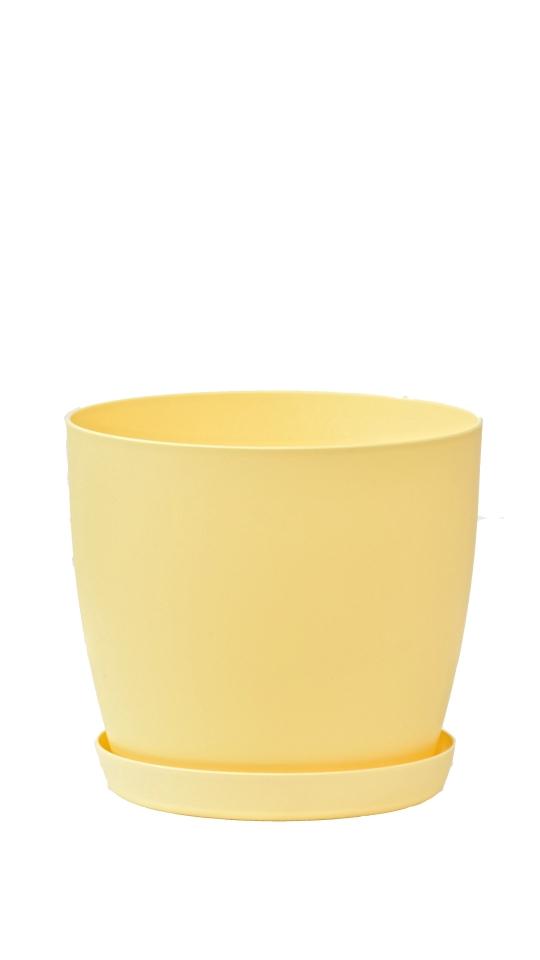 Květináč s podmiskou Aga, 140 mm, žlutý