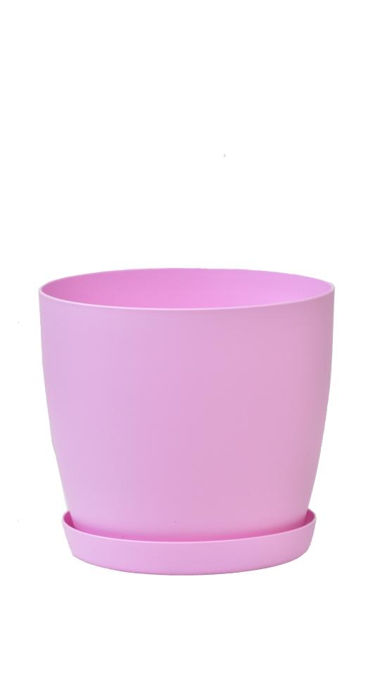 Květináč s podmiskou Aga, 140 mm, růžový