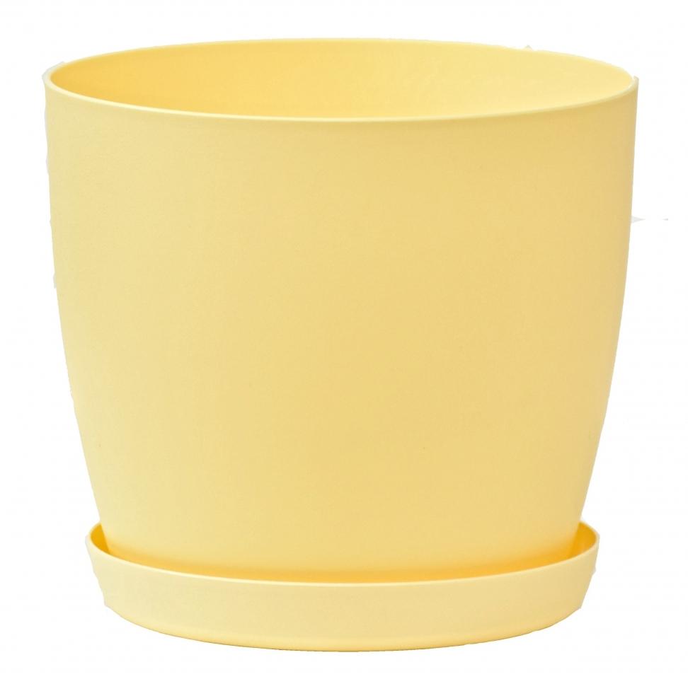 Květináč s podmiskou Aga, 160 mm, žlutý