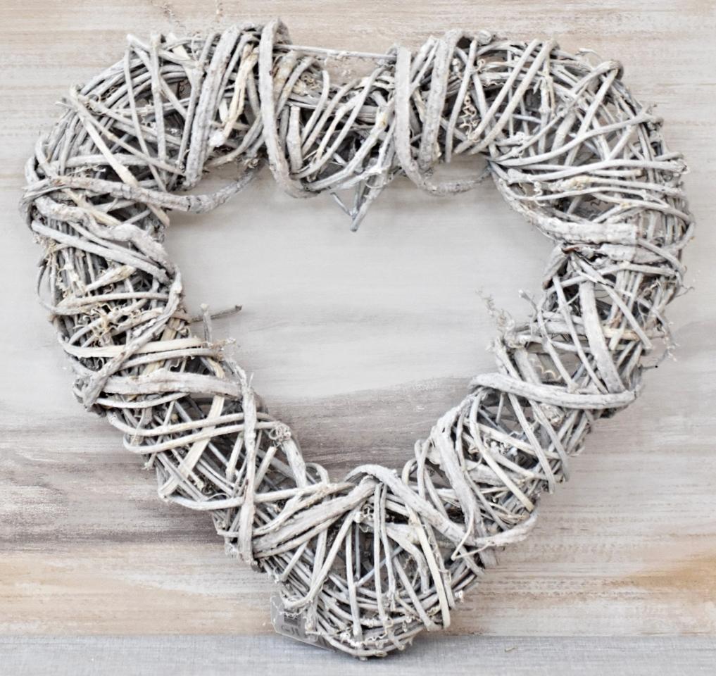 Ratanové srdce šedé 35x35 cm