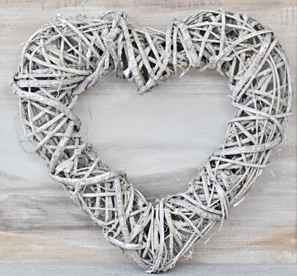 Ratanové srdce šedé 40x40 cm