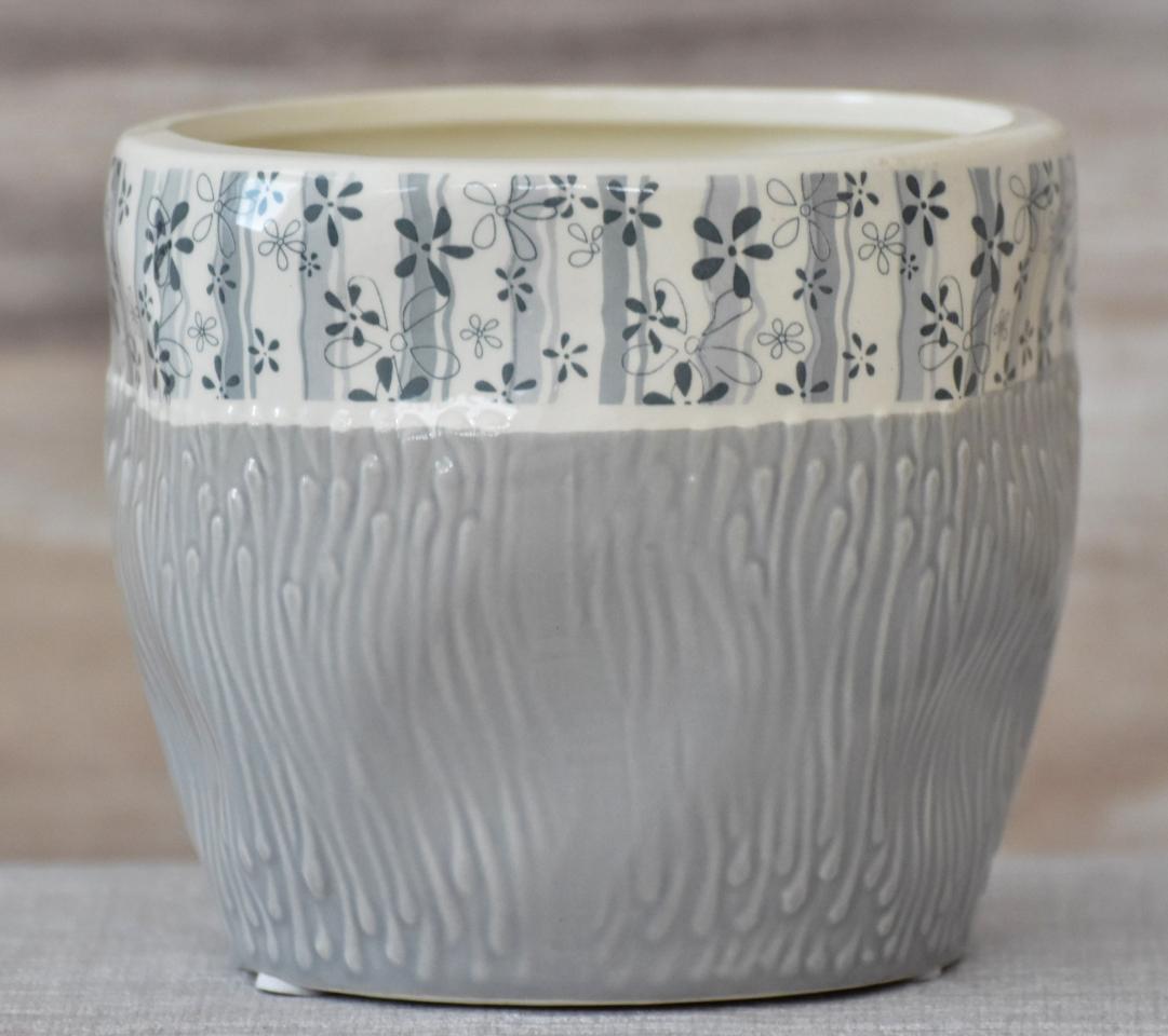 Keramický květináč Flowers šedý