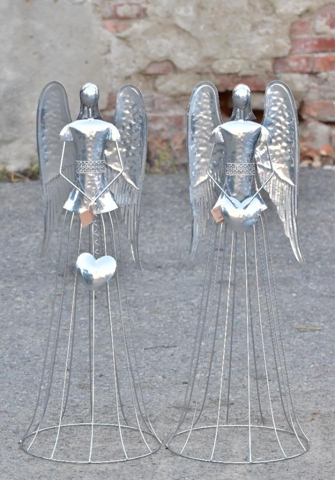 Plechový anděl Noel stříbrný  91 cm