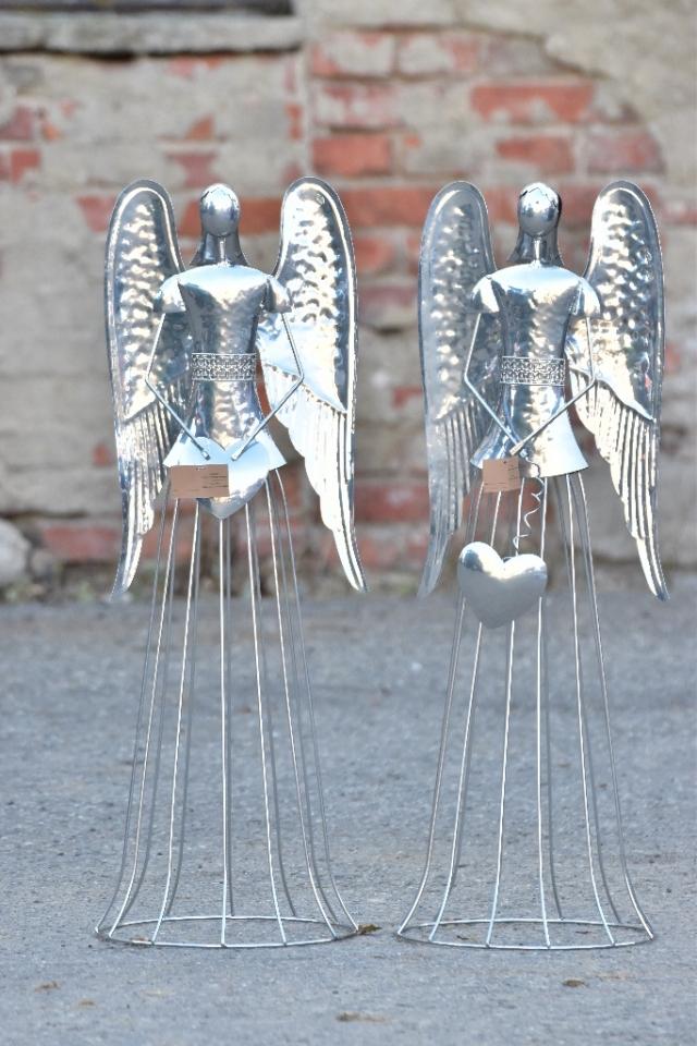 Plechový anděl  Noel  stříbrný  82 cm