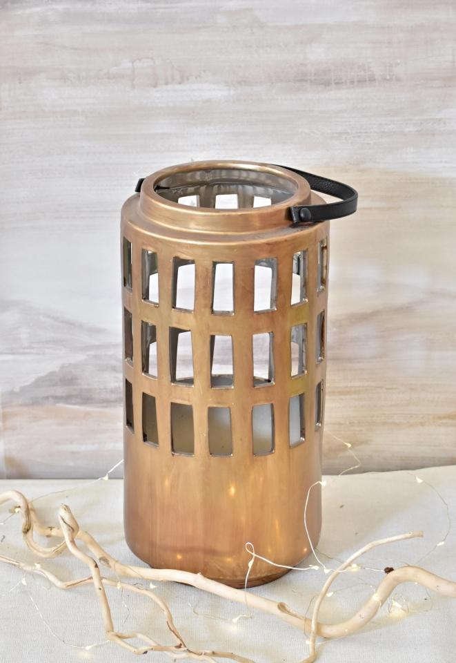 Porcelánová lucerna 37 cm měděná