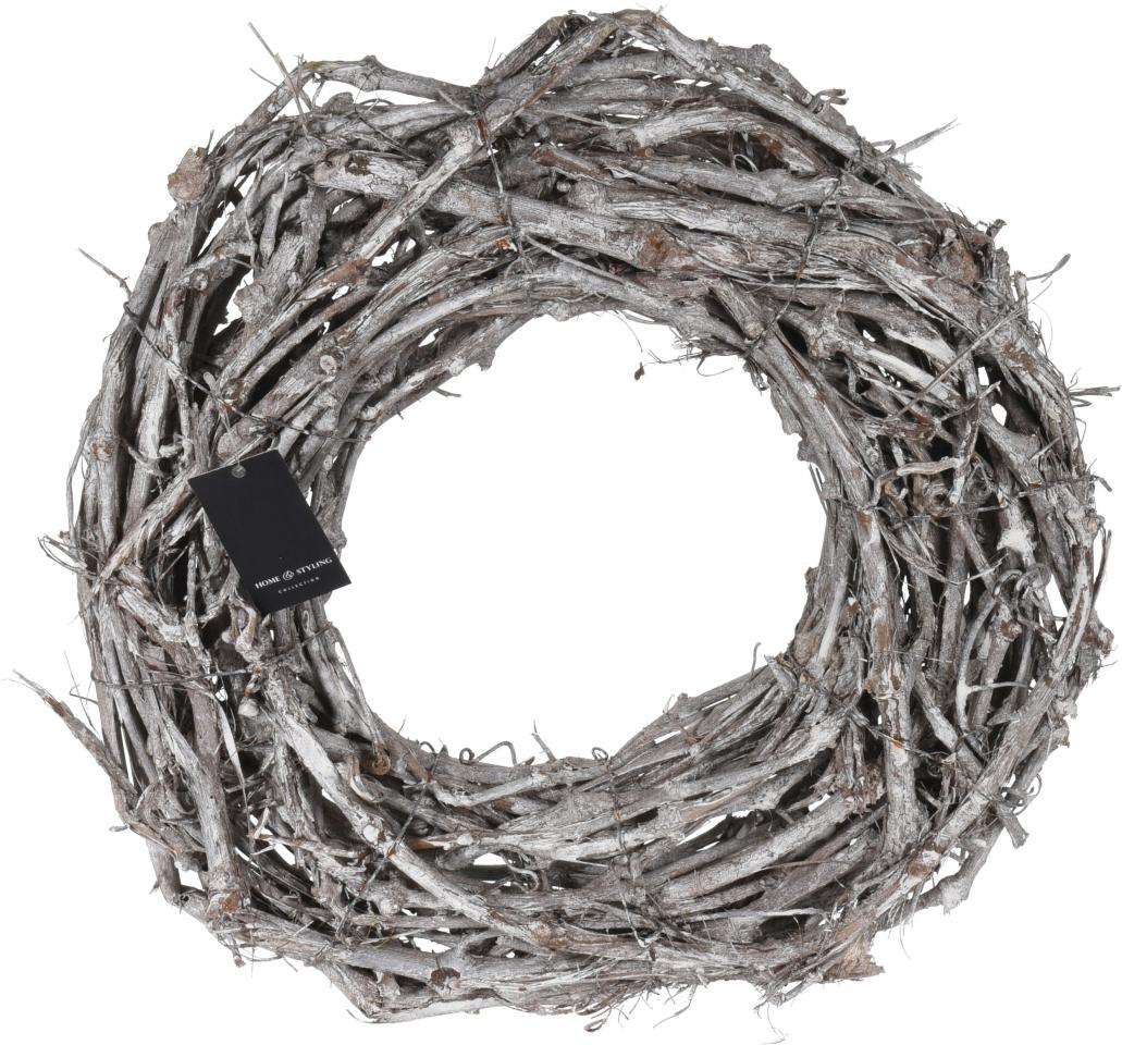 Proutěný věnec Natur, bílo-hnědý, 40cm