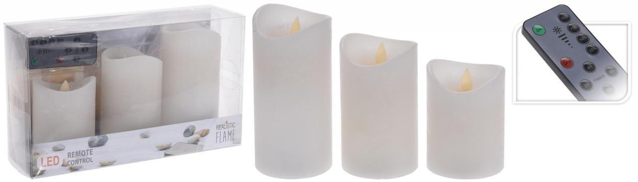 sada 3 ks LED svíček s ovladačem