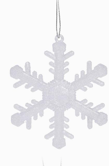Bílá vločka na zavěšení 7,5 cm, sada 2 ks, C