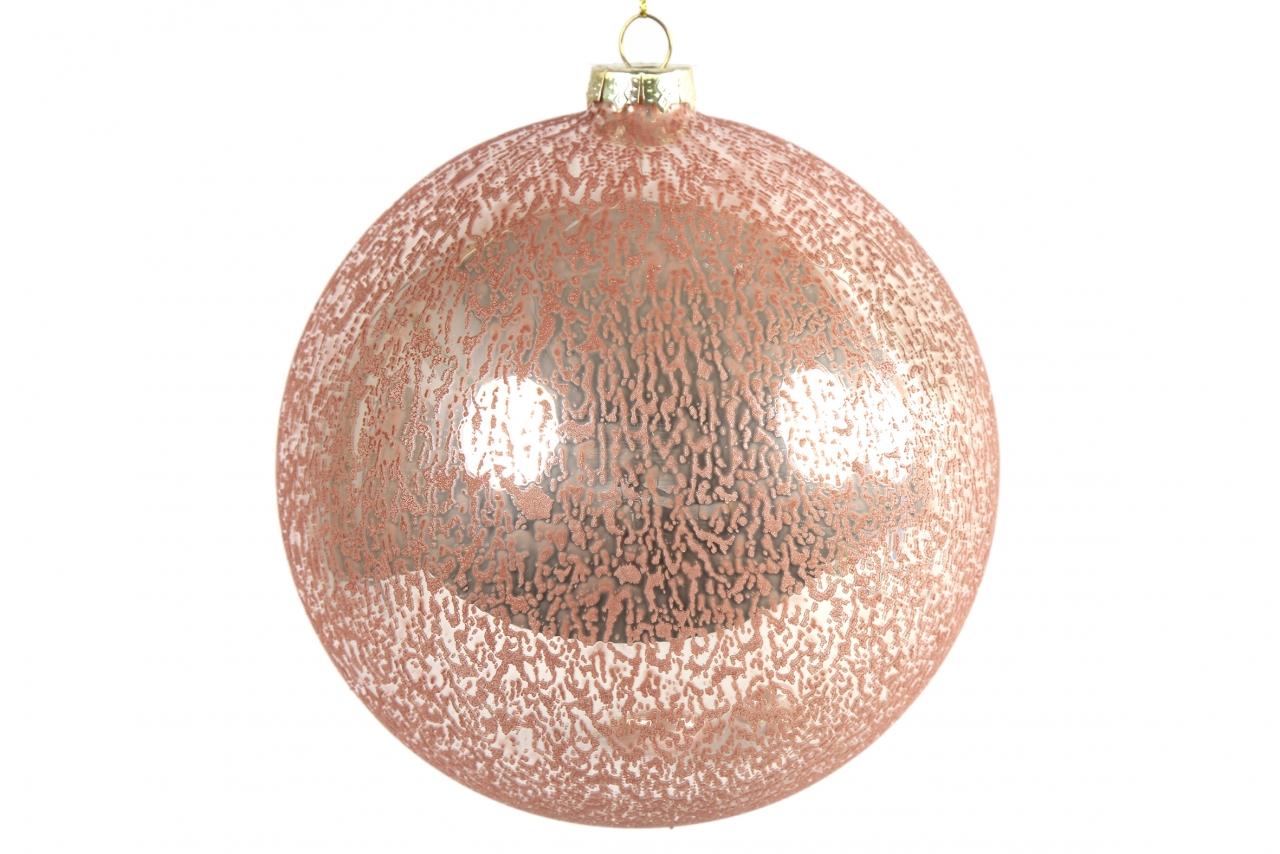 Růžová vánoční baňka Yana XL