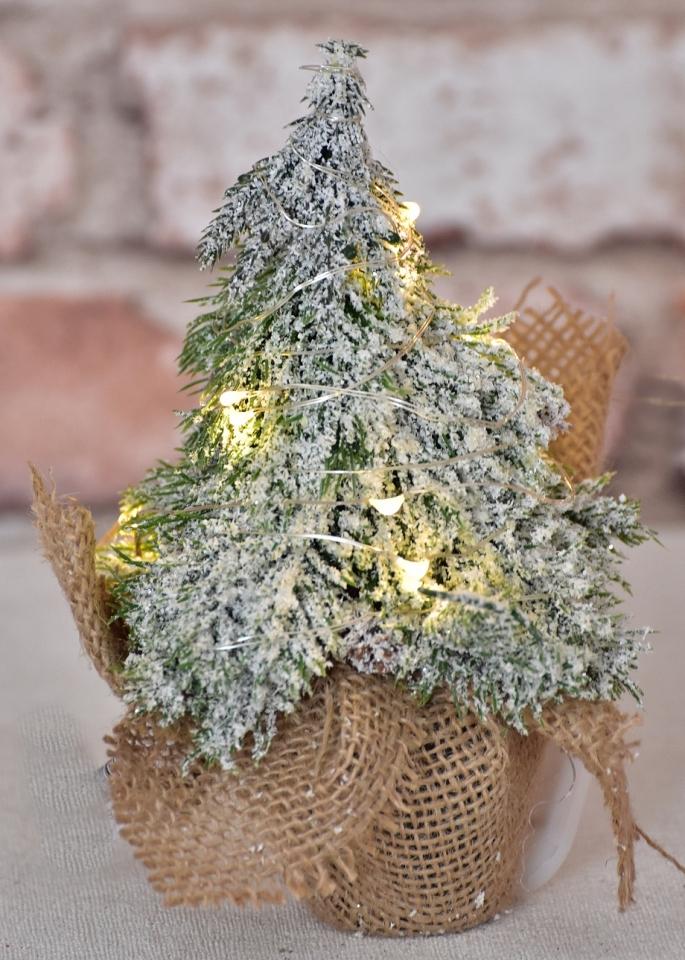 Umělý stromeček zasněžený s LED světýlky 19 cm