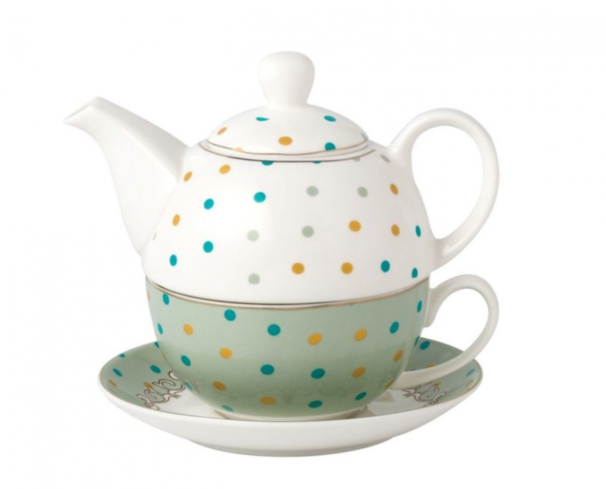 Konvička s podšálkem TEA FOR ONE Pastel Dots