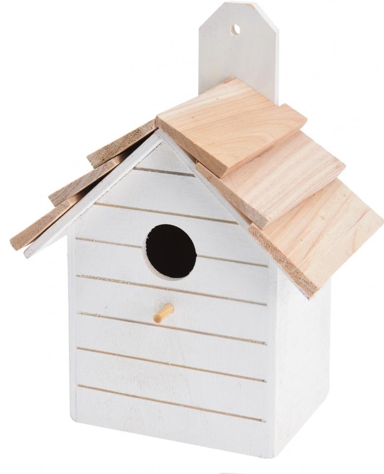 Ptačí budka bílá, dřevěná