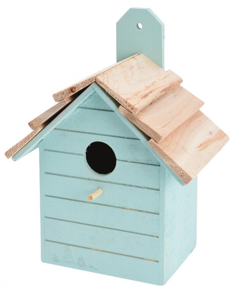 Ptačí budka tyrkysová, dřevěná
