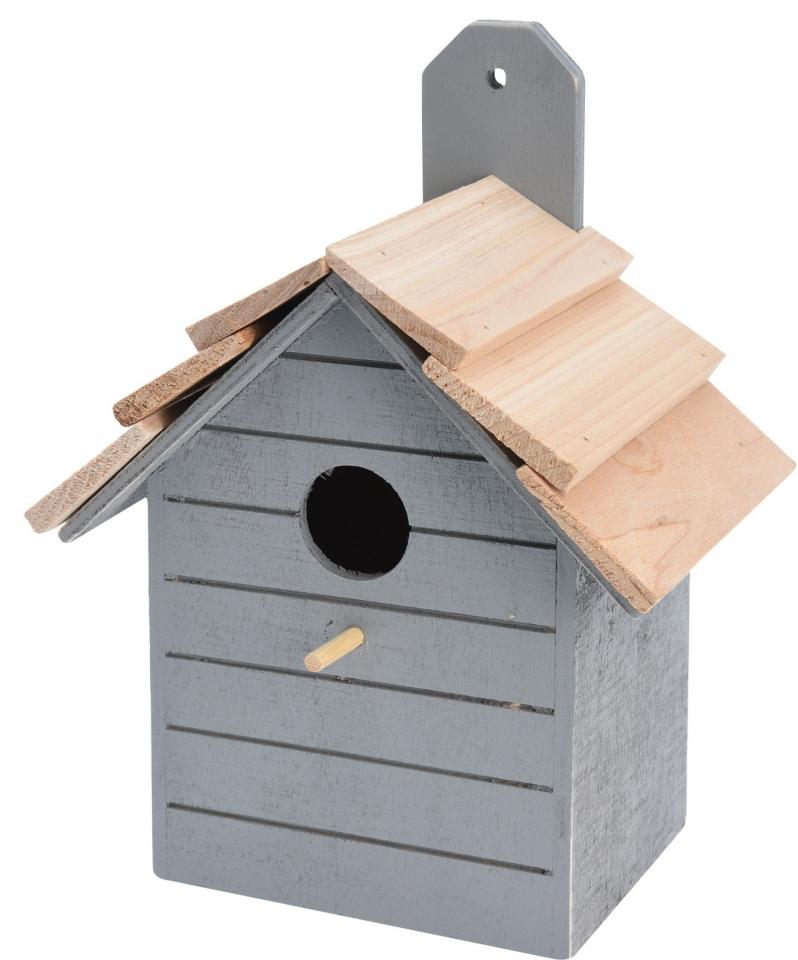 Ptačí budka šedá, dřevěná