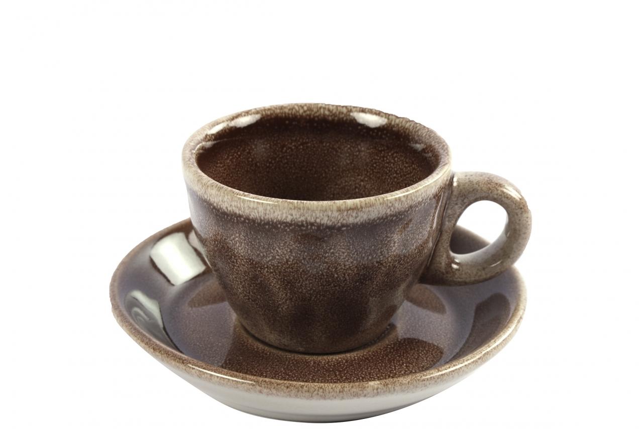 Hrnek s podtalířkem Carmen brown espresso