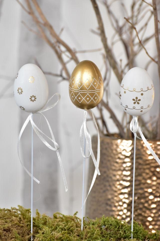 Plastová vajíčka na špejli Gold-White s/6, 6 cm