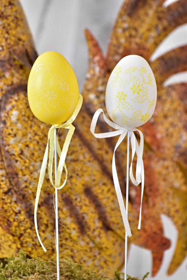 Plastová vajíčka na špejli, květinový motiv s/6, 6 cm