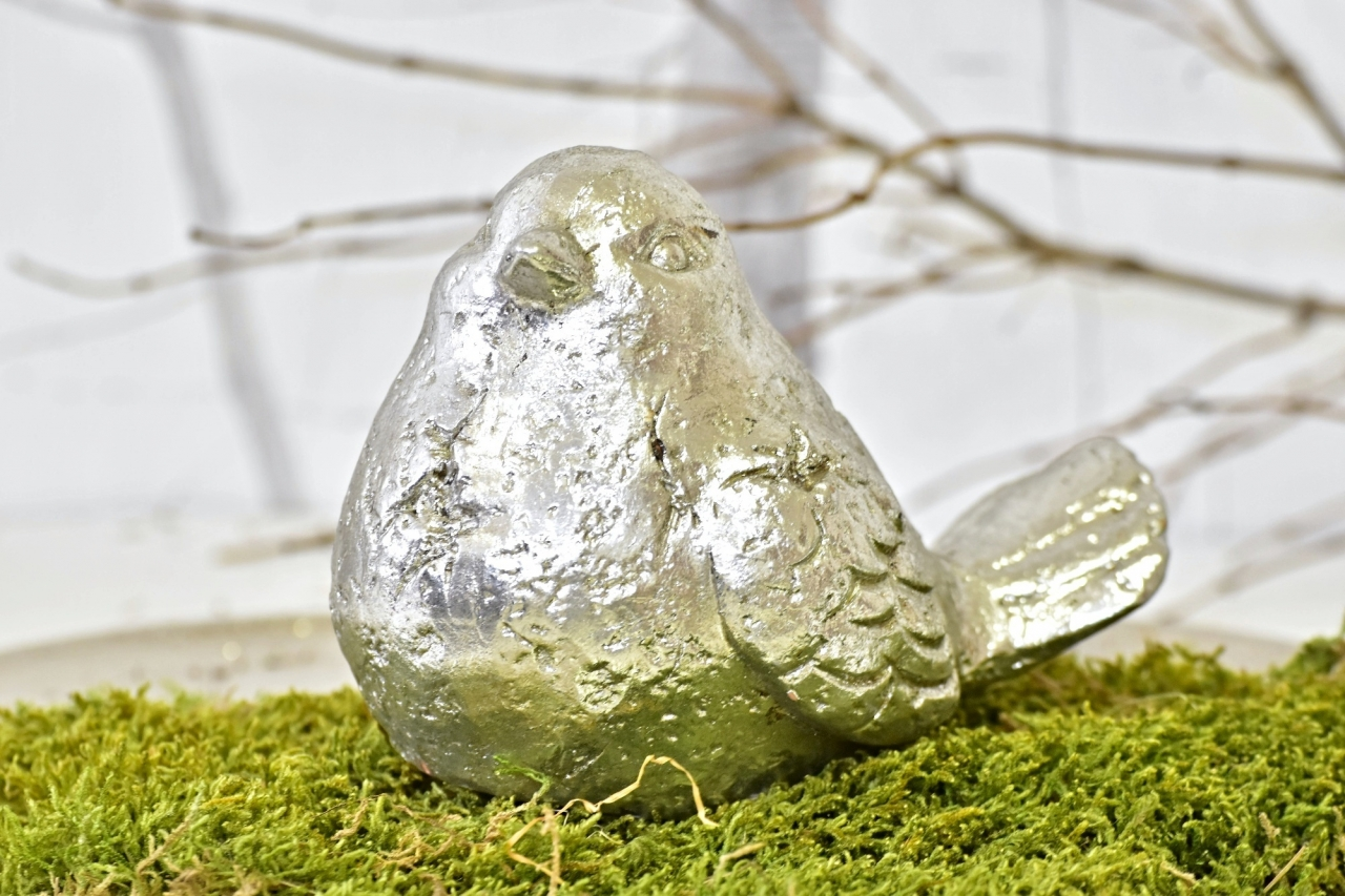 Keramický ptáček Ollie M, stříbrný