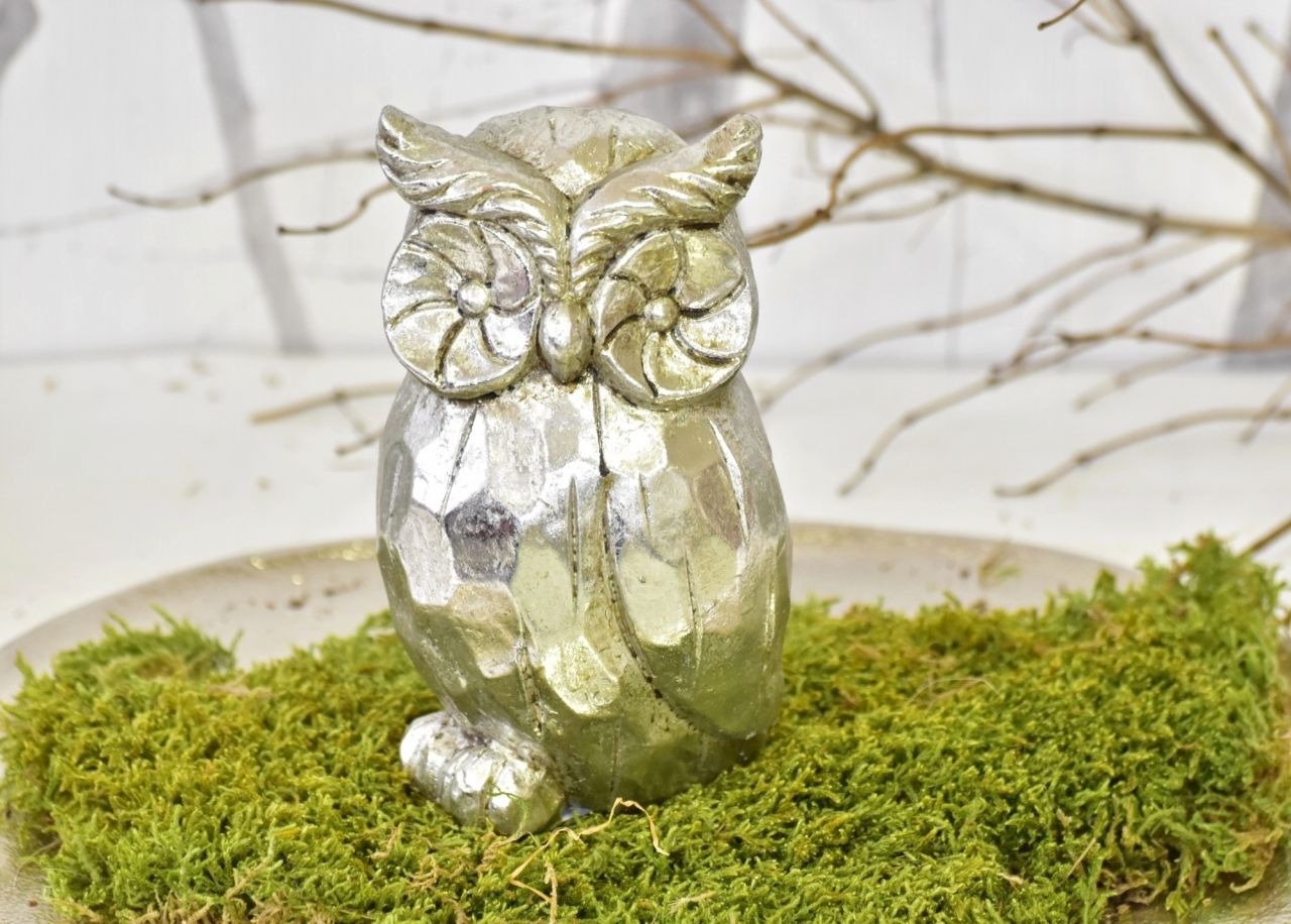 Keramická sova Alex M, stříbrná