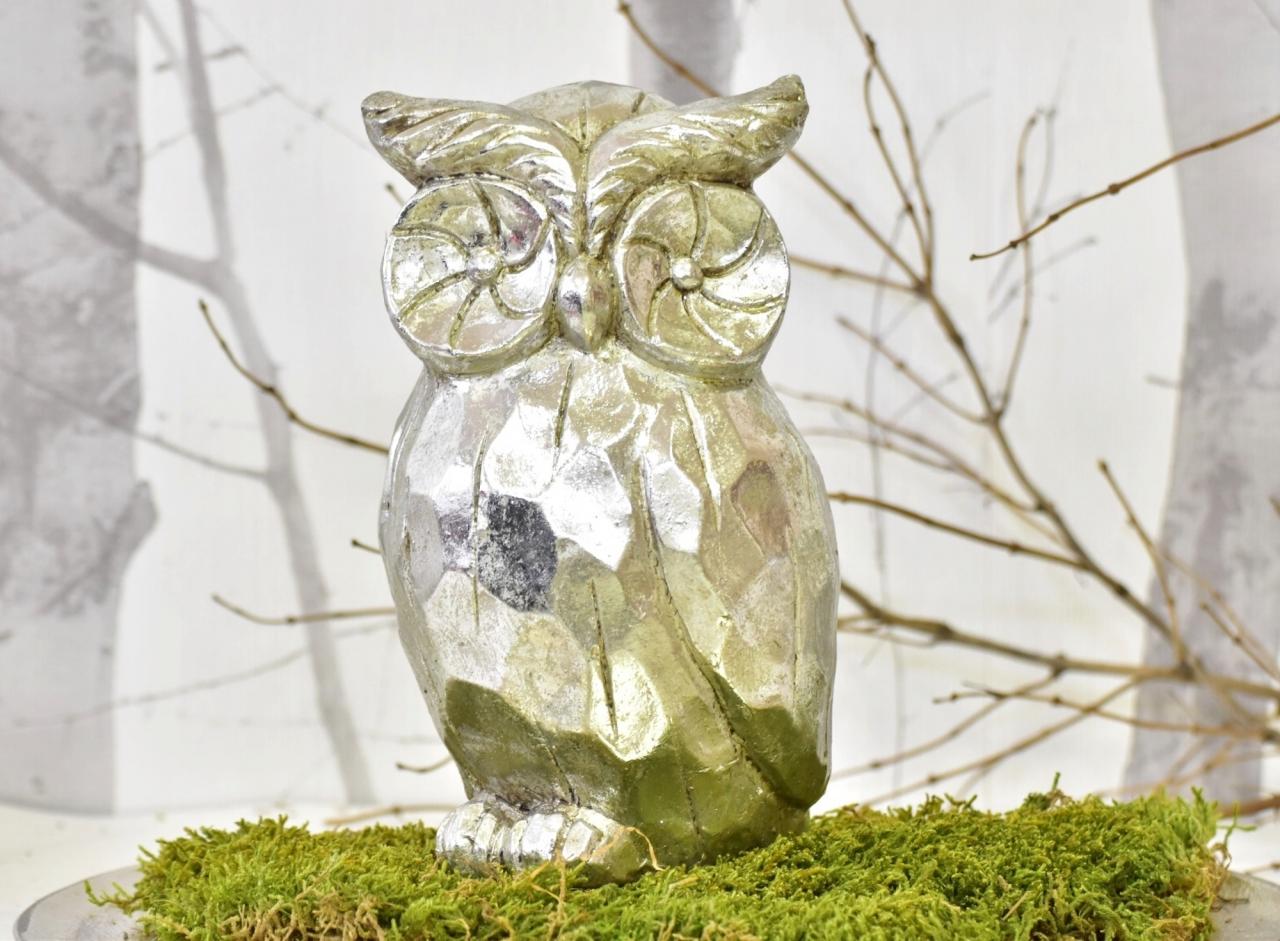 Keramická sova Alex L, stříbrná