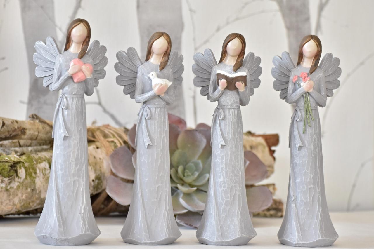 Anděl Remiel šedý 25 cm
