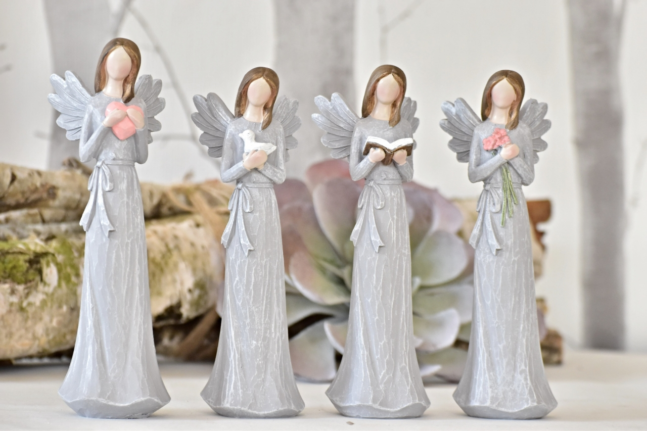 Anděl Remiel šedý 20 cm