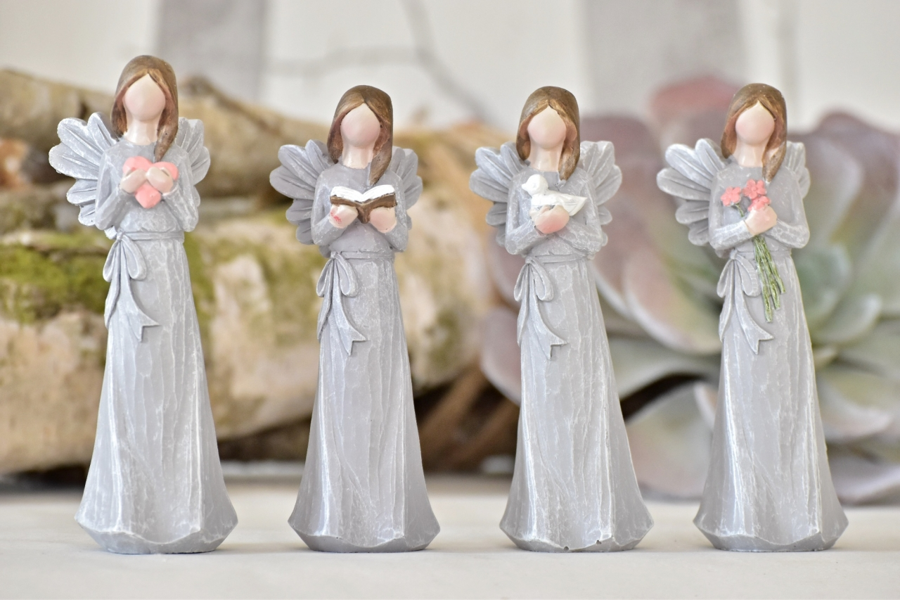 Anděl Remiel šedý 14 cm