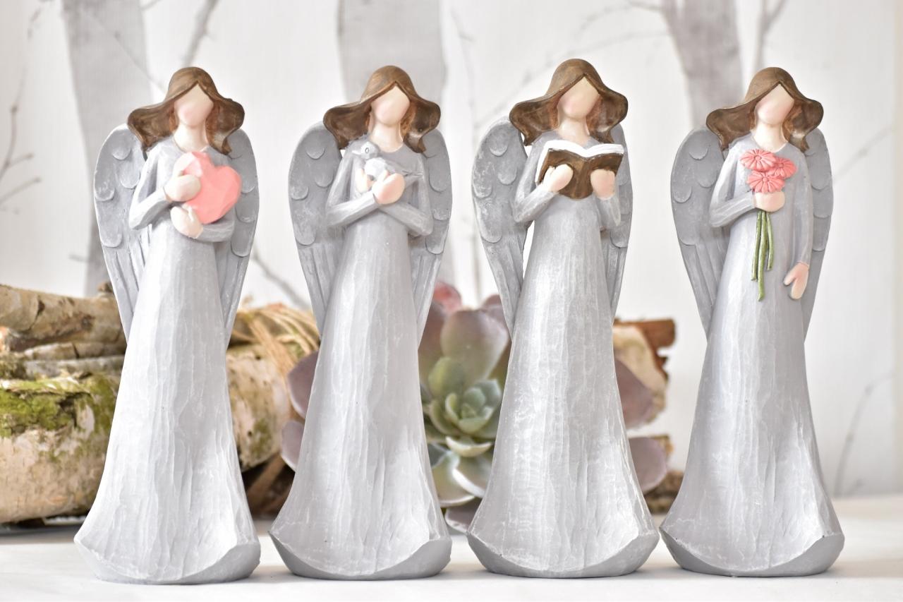 Anděl Pruel šedý 25 cm