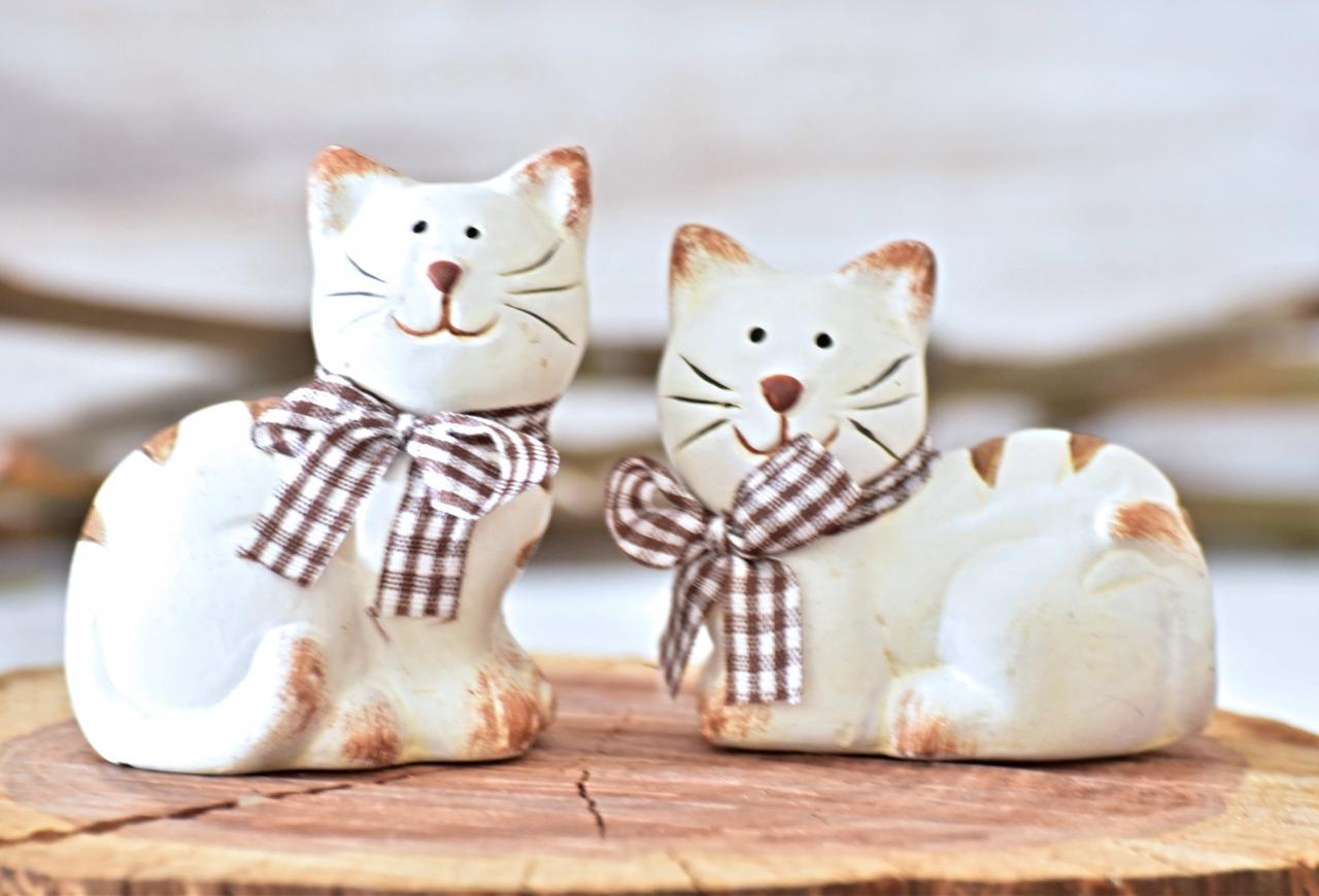 Keramická kočka Millie S, hnědá