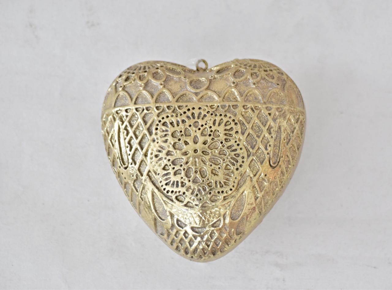 Dekorace srdce Ornament Gold L