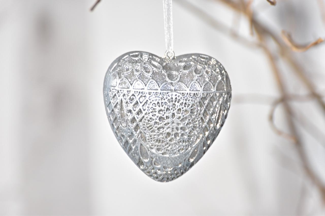 Dekorace srdce Ornament Silver M