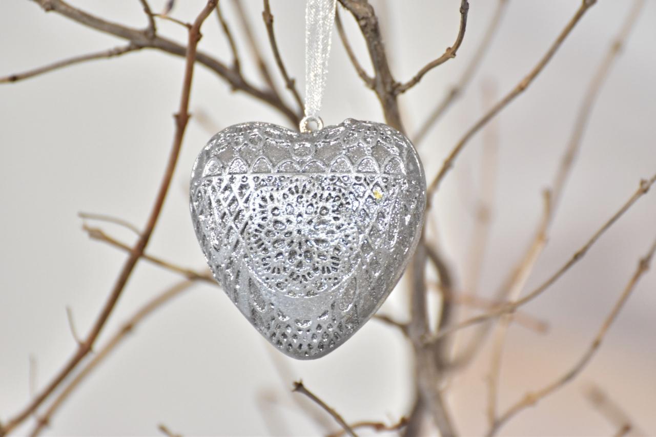 Dekorace srdce Ornament Silver S