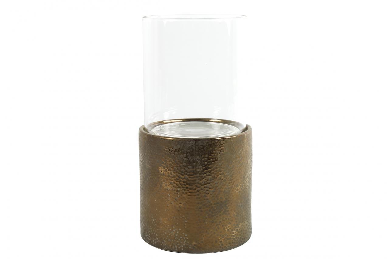 Zlatý svícen se skleněným válcem Ruben XL