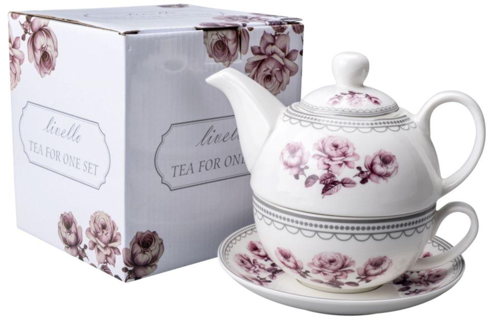 Konvička s podšálkem TEA FOR ONE Retro Rose
