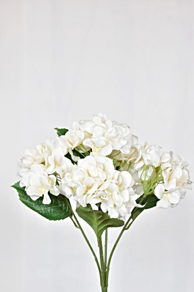 Umělá kytice hortenzií 45 cm, bílá
