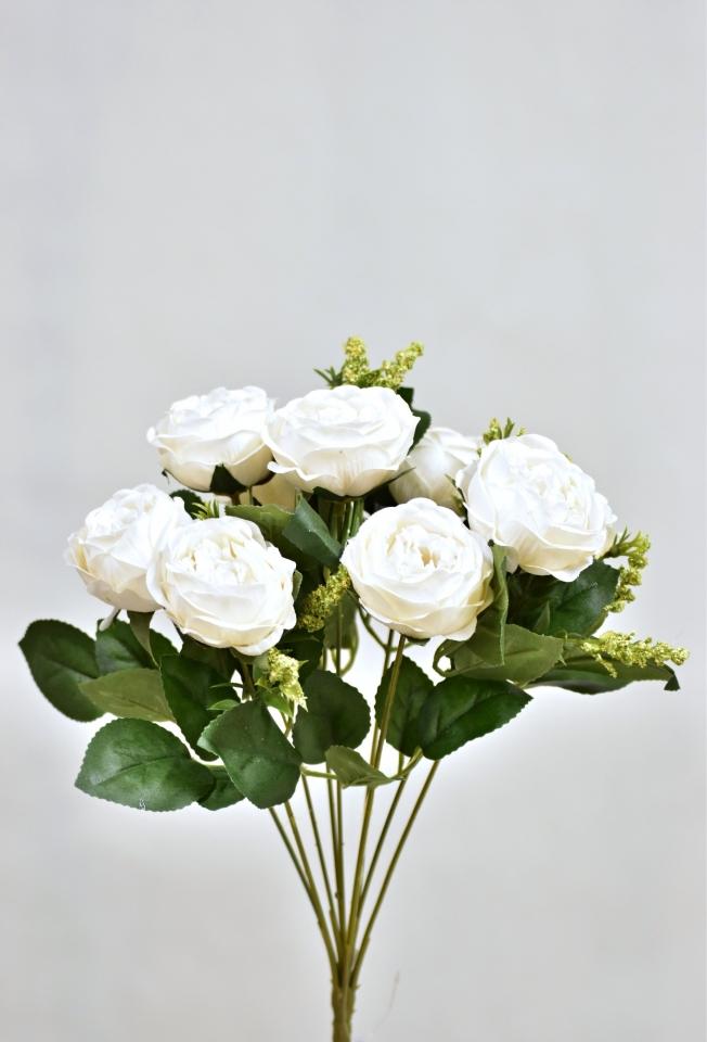 Umělá kytice růží 35 cm, bílá