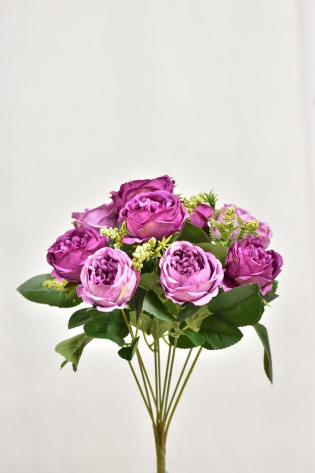 Umělá kytice růží 35 cm, fialová