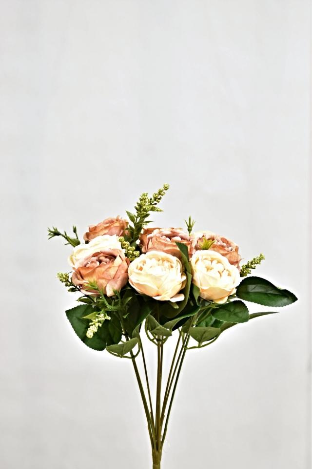 Umělá kytice růží 35 cm, broskvová s hnědou