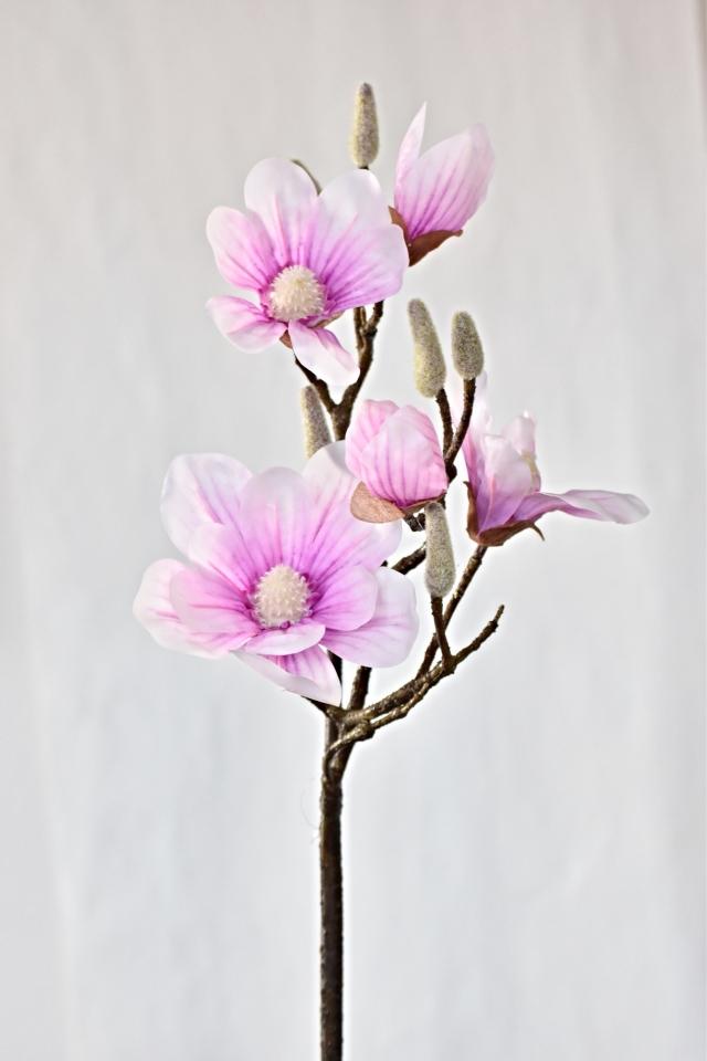 Umělá větvička Magnolie 90 cm, růžová