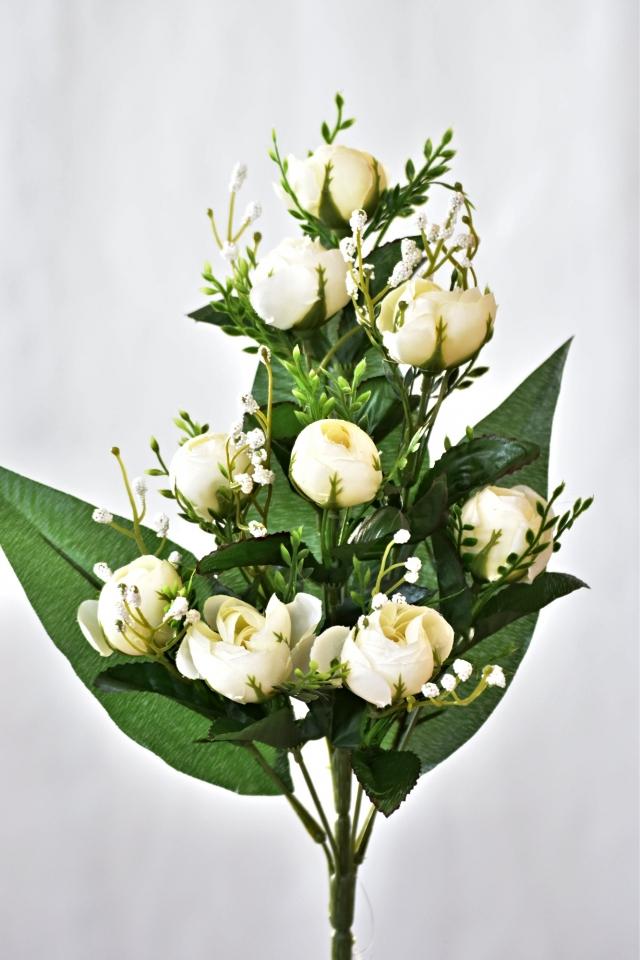 Kytice kamélií 40 cm, bílá